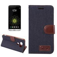 Jeans peněženkové pouzdro na LG G5 - černomodré