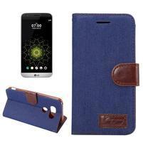 Jeans peněženkové pouzdro na LG G5 - tmavěmodré