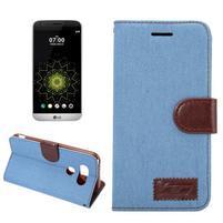 Jeans peněženkové pouzdro na LG G5 - světlemodré