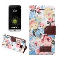 Květinové pouzdro na mobil LG G5 - bílý vzor