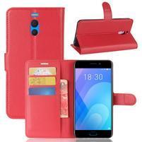 Litchi PU kožené pouzdro na Meizu M6 Note - červené