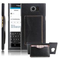 Cloth PU kožený obal se stojánkem na BlackBerry Priv - černé