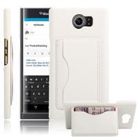 Cloth PU kožený obal se stojánkem na BlackBerry Priv - bílé