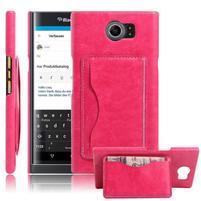 Cloth PU kožený obal se stojánkem na BlackBerry Priv - rose