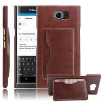 Cloth PU kožený obal se stojánkem na BlackBerry Priv - hnědé