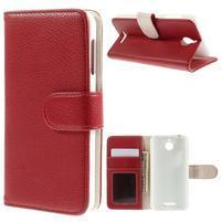 Folio PU kožené pouzdro na mobil HTC Desire 510 - červené