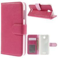 Folio PU kožené pouzdro na mobil HTC Desire 510 - rose
