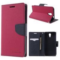 Diary PU kožené pouzdro na mobil HTC Desire 620 - rose