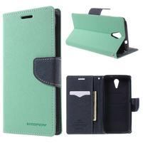 Diary PU kožené pouzdro na mobil HTC Desire 620 - cyan
