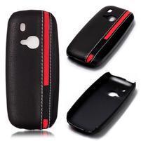 Color PU kožený/plastový obal na Nokia 3310 (2017) - černý