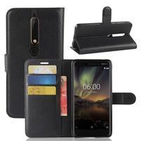 Litchi PU kožené pouzdro na Nokia 6.1 - černé
