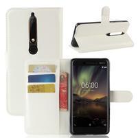 Litchi PU kožené pouzdro na Nokia 6.1 - bílé