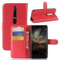 Litchi PU kožené pouzdro na Nokia 6 (2018) - červené