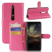 Litchi PU kožené pouzdro na Nokia 6.1 - rose