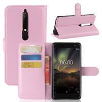 Litchi PU kožené pouzdro na Nokia 6 (2018) - růžové