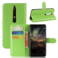 Litchi PU kožené pouzdro na Nokia 6 (2018) - zelené