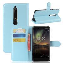 Litchi PU kožené pouzdro na Nokia 6 (2018) - modré