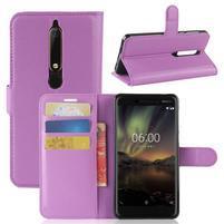 Litchi PU kožené pouzdro na Nokia 6.1 - fialové