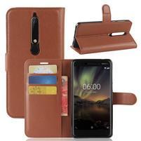 Litchi PU kožené pouzdro na Nokia 6.1 - hnědé