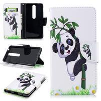 Emotive PU kožené pouzdro na Nokia 6.1 - panda na bambusu