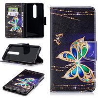 Emotive PU kožené pouzdro na Nokia 6.1 - kouzelný motýl