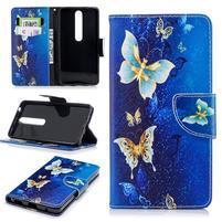 Emotive PU kožené pouzdro na Nokia 6 (2018) - modří motýlkové