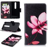 Emotive PU kožené pouzdro na Nokia 6.1 - květina