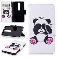 Emotive PU kožené pouzdro na Nokia 6.1 - panda