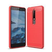 Carbon odolný gelový obal s broušením na Nokia 6.1 - červený