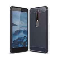 Carbon odolný gelový obal s broušením na Nokia 6.1 - tmavěmodrý
