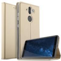 Stand Luxury PU kožené klopové pouzdro na Nokia 8 Sirocco - zlaté