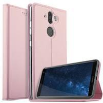 Stand Luxury PU kožené klopové pouzdro na Nokia 8 Sirocco - růžovozlaté