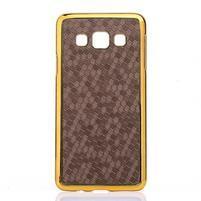 Elegantní obal na Samsung Galaxy A3 - hnědy se zlatým lemem