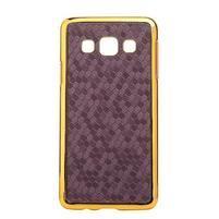 Elegantní obal na Samsung Galaxy A3 - fialový se zlatým lemem