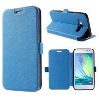 Klopové PU kožené pouzdro na Samsung Galaxy A3 - modré
