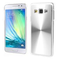Metalický plastový obal na Samsung Galaxy A3 - stříbrný