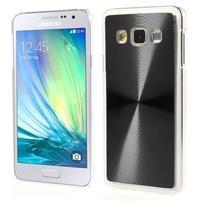 Metalický plastový obal na Samsung Galaxy A3 - černý