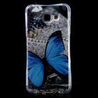 Tvarovaný gelový obal na Samsung Galaxy A5 (2016) - modrý motýl