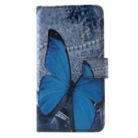 Koženkové pouzdro na Samsung Galaxy A5 (2016) - modrý motýl