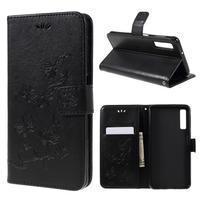 Print PU kožené peněženkové pouzdro na mobil Samsung Galaxy A7 (2018) - černé