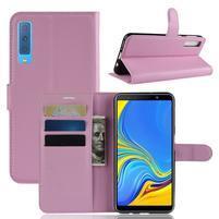 Skin PU kožené flipové pouzdro pro Samsung Galaxy A7 (2018) - růžové