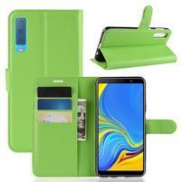 Skin PU kožené flipové pouzdro pro Samsung Galaxy A7 (2018) - zelené