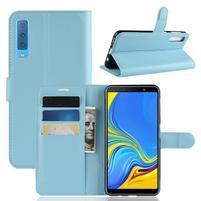Skin PU kožené flipové pouzdro pro Samsung Galaxy A7 (2018) - modré