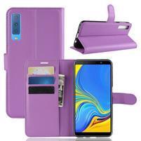 Skin PU kožené flipové pouzdro pro Samsung Galaxy A7 (2018) - fialové