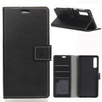 Litch PU kožené peněženkové pouzdro na mobil Samsung Galaxy A7 (2018) - černé