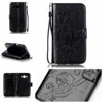 Motýlkové peněženkové pouzdro na Samsung Galaxy J5 - černé