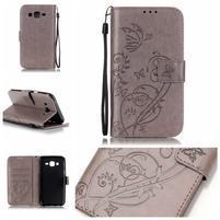 Motýlkové peněženkové pouzdro na Samsung Galaxy J5 - šedé