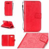 Motýlkové peněženkové pouzdro na Samsung Galaxy J5 - červené