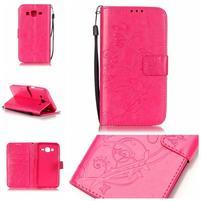 Motýlkové peněženkové pouzdro na Samsung Galaxy J5 - rose