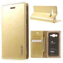 Moon PU kožené pouzdro na Samsung Galaxy J5 - zlaté